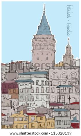 Galata Tower / Istanbul Turkey - stock vector