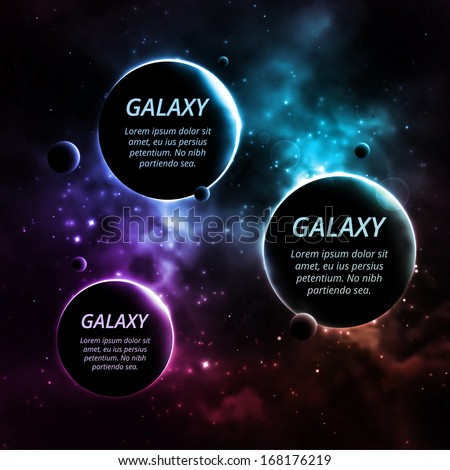 galaxy background with three