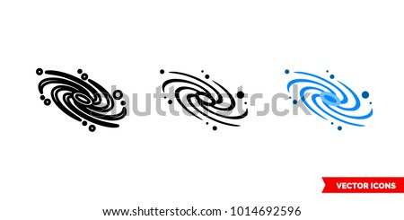 Galaxy icon of 3 types: color, black and white, outline. Isolated vector sign symbol.