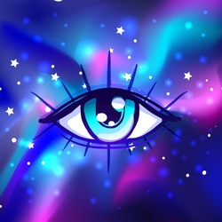 Galaxy in your eye. Vector bright colorful cosmos background. Magic fairy face, nebula make up with stars. Hand-drawn Eye of Providence. Alchemy, religion, spirituality, occultism, tattoo art.