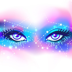 Galaxy in your eyes. Vector bright colorful cosmos background. Magic fairy face, nebula make up with stars. Hand-drawn Eye of Providence. Alchemy, religion, spirituality, occultism, tattoo art.