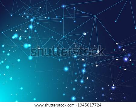 Galaxy Net Futuristic Design, Universe Star Sky. Blue Technology Space, Internet Cyberspace Data Concept. Lines Linked Plexus Vector Background. Big Data Information, Triangular Network Nodes. Сток-фото ©