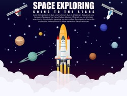 Galaxy space ship rocket launch exploring and research with realistic satellite and planets concept. Business startup. Galaxy Vector illustration
