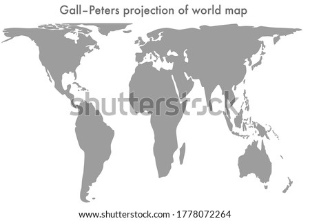 Gall-Peters projection of world map vector line illustration (correct size). Resizable Foto stock ©