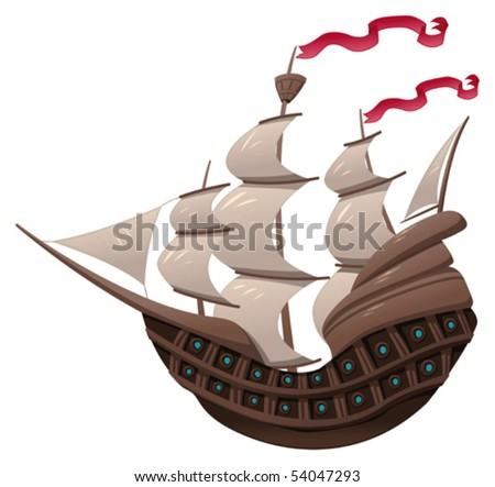 Galleon. Cartoon and vector object isolated.