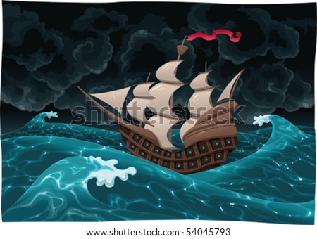 galleon in the sea with storm