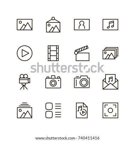 Gallery icon set. Collection of high quality outline menu pictograms in modern flat style. Black information symbol for web design and mobile app on white background. Multimedia line logo.