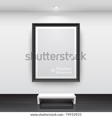 Gallery Interior with empty black frame on wall - stock vector