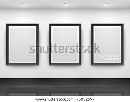 Gallery Interior with empty black frameÑ? on wall