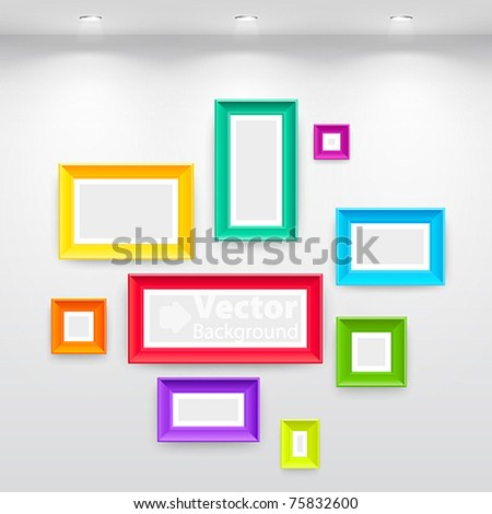 Gallery Interior with empty colorful frames on wall