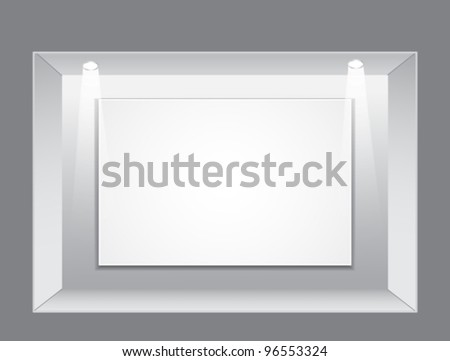 Gallery Interior with empty frame and light on wall,vector illustration