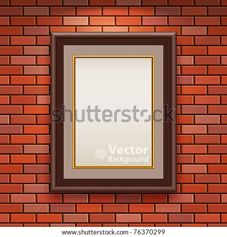 Gallery Interior with empty frame on brick wall