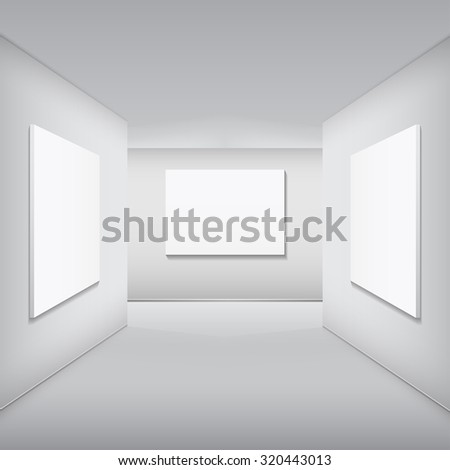 Gallery Interior with empty frame on wall and lights | EZ Canvas
