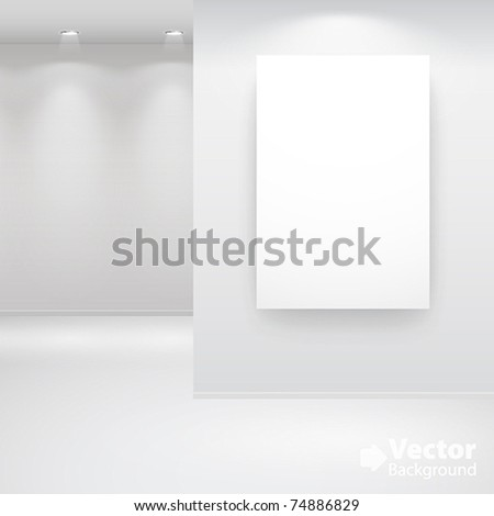 Gallery Interior with empty frame on wall and lights - stock vector
