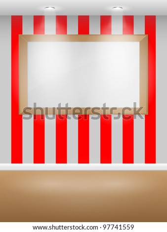 Gallery Interior with empty frame on wall. Vector illustration.