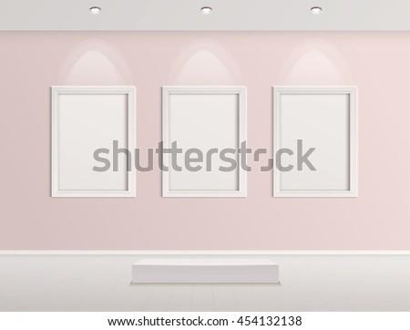 Gallery Interior with empty frames indoor vector design.