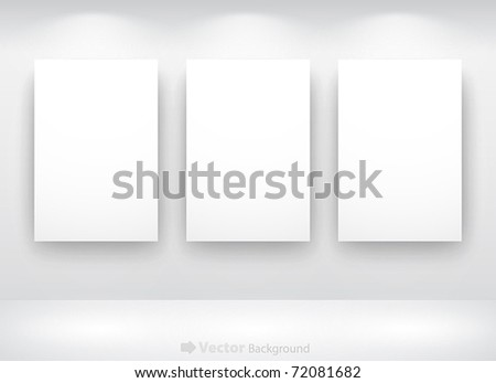 Gallery Interior with empty frames on wall - stock vector