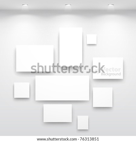 Gallery Interior with niche inside the panel - stock vector