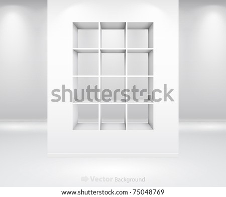 Gallery Interior with shelf inside the panel - stock vector