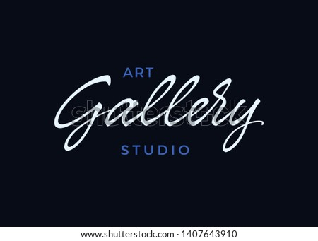 Gallery vector lettering. Handwritten text label. Freehand typography design