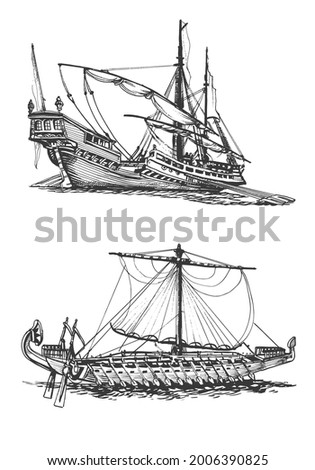 Galley of the ancient Greeks. Wooden sailboat with oars. Graphic hand drawing. Vector Stockfoto ©