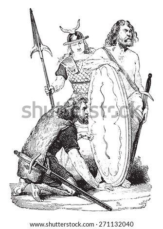 Gallic soldiers, vintage engraved illustration. Industrial encyclopedia E.-O. Lami - 1875.