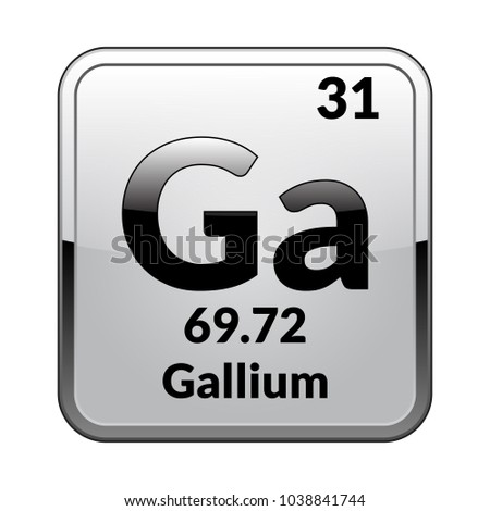 Gallium Symbolemical Element Of The Periodic Table On A Glossy