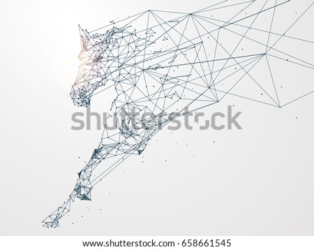 Stock Photo Galloping horse,Network connection turned into,vector illustration,