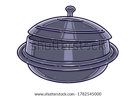 Gamasot, or simply sot, is a big, heavy pot or cauldron used for Korean cooking. Colored vector illustration. Stock photo ©
