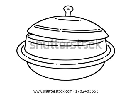 Gamasot, or simply sot, is a big, heavy pot or cauldron used for Korean cooking. Vector line art illustration. Stock photo ©