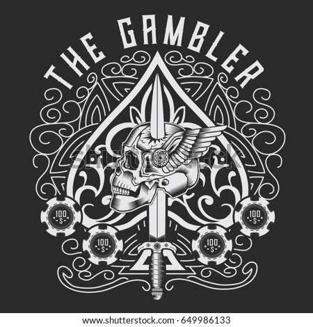 Gambler poker skull typography, tee shirt graphics, vectors
