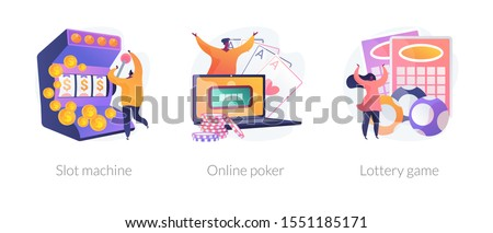 Gambling addiction, internet casino dependence, dangerous entertainment icons set. Slot machine, online poker, lottery game metaphors. Vector isolated concept metaphor illustrations