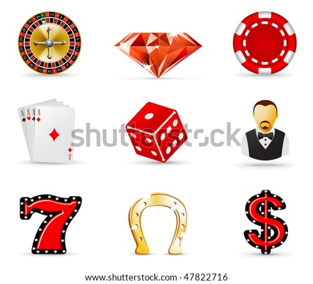 Gambling and casino icons, part 1 - stock vector
