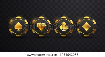 Gambling chips with golden palying card suit sign. Vector illustration. Black and golden casino chips isolated on black background. Game concept