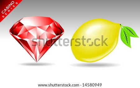 gambling element from a casino series with diamond and lemon