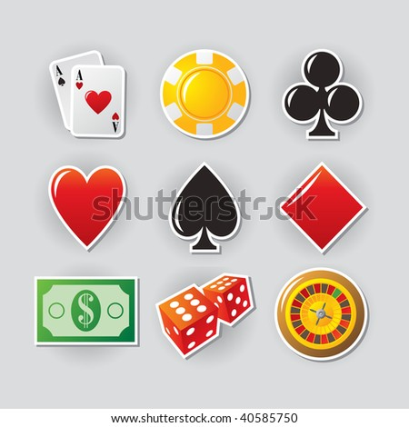 Gambling icon set for online casino or entertainment site.