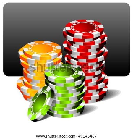 gambling illustration with poker chips - stock vector