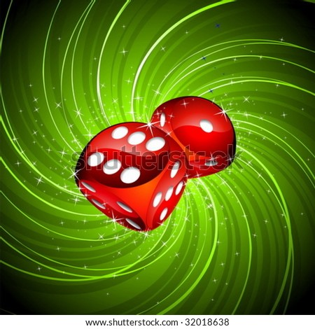 Gambling illustration with red dices on grunge background.