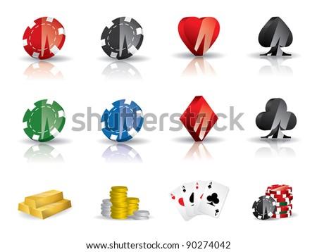 Gambling - poker icon set