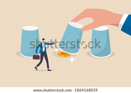 Gambling risk, win the guess game or predict the investment concept, businessman investor pointing to a right cup with human man open it to reveal money dollar coin profit.