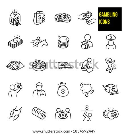 gambling thin line icons