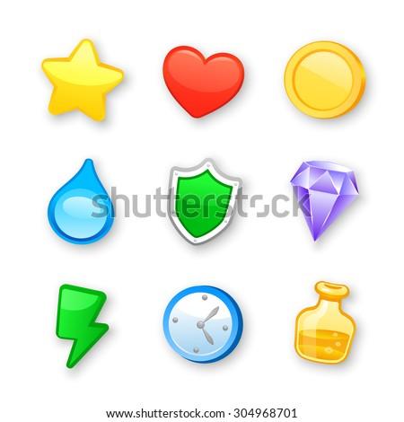 game art design icons vector set