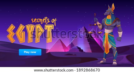 Game banner about Secrets of Egypt with Anubis and pyramids on desert landscape. Vector cartoon background for game ui interface with ancient tombs and egyptian god at night