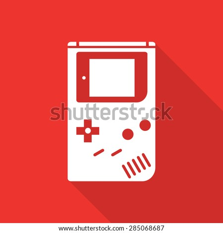 game boy flat icon with long