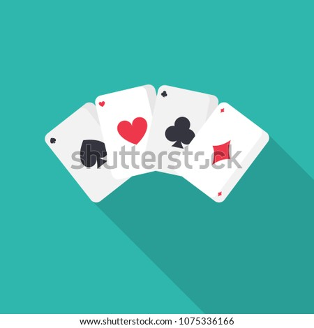 Game cards flat icon with long shadow isolated on blue background. Simple  Game cards in flat style, vector illustration.