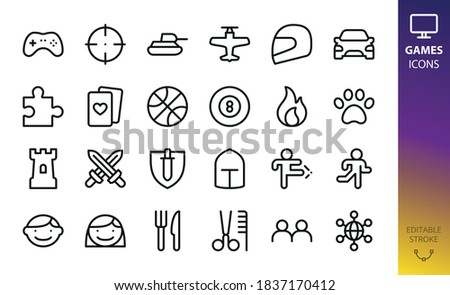 game categories isolated vector