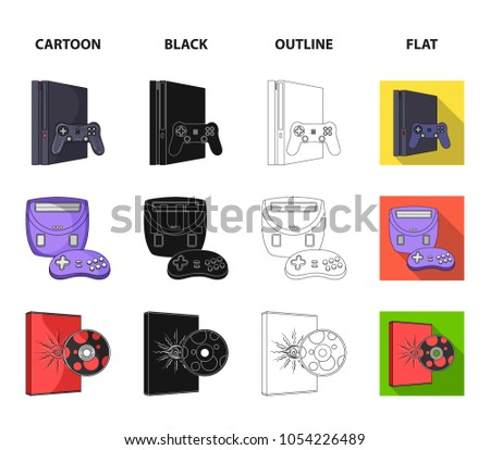 Game console, joystick and disc cartoon,black,outline,flat icons in set collection for design.Game Gadgets vector symbol stock web illustration.