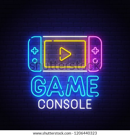 Game console neon sign, bright signboard, light banner. Gamer logo, emblem. Vector illustration