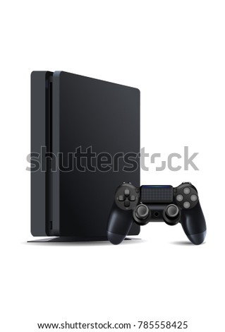 Game Console with Joystick vector illustration icon. Home console. Video game console vector.  Foto stock ©