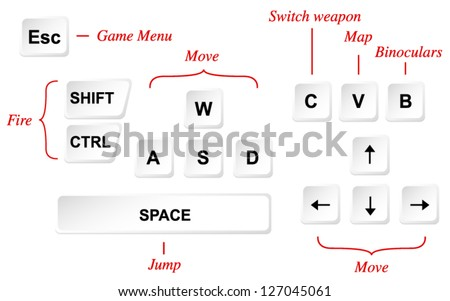 Game Control Key Layout Vector Template